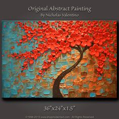 Original Abstract Contemporary Red Cherry Blossom Tree Painting