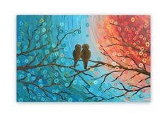 Love Bird Painting  Teal turquoise & orange abstract by louisemead, £90.00