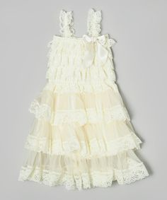 Look at this #zulilyfind! Ivory Lace Three Tier Dress - Infant, Toddler & Girls by Posh Peanuts #zulilyfinds