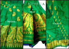 Assam Silk (Mulberry) Mekhela Sador - Parrot Green Silk from Lal10.com