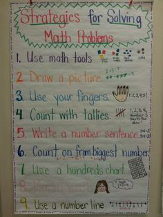 Love this 3rd grade could do this add to the chart each time they math problem solving strategies anchor chart ccuart Gallery