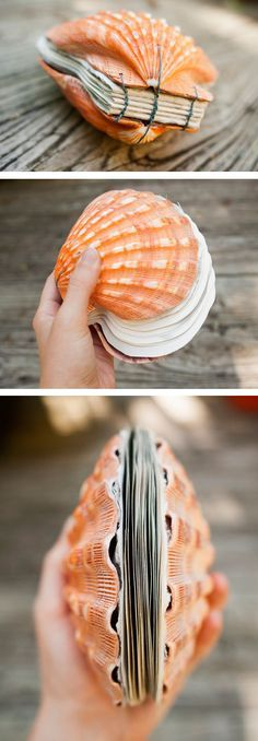 Seashell Bound Book . . . what a clever idea, this would make a great #Scrapbook #papercraft