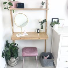 Check out my updated dressing table featuring the Ikea SVALNAS Wall-mounted workspace, Zara Home mirror with marble base, sostrene grene pink velvet stool. Diy Dressing Tables, Small Dressing Table, Bedroom Dressing Table, Dressing Table With Stool, Wall Mounted Dressing Table, Ikea Dressing Room, Zara Home Mirror, Svalnäs Ikea, Ikea Bedroom