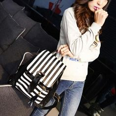 Rucksack Girls Leather Tassels Stripe Backpack