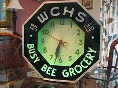 Vintage NEON CLOCK WCHS radio Busy Bee Grocery Advertisement Original 1930s