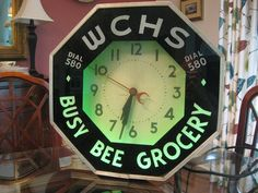 Vintage NEON CLOCK WCHS radio Busy Bee Grocery Advertisement Original 1930s
