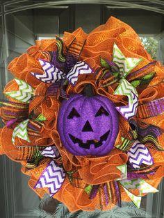 Halloween Purple Pumpkin Mesh Wreath by JEMCrafty on Etsy