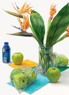 Watercolor Food, Watercolor And Ink, Painting Still Life, Color Pencil Art, Japan Art, Marigold, Colored Pencils, Fine Art, Drawings
