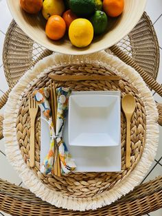 """Looking forward to entertaining again! Consider using sustainable items for your table décor. Here is a quick and easy DIY.  It starts with plain rattan placemats, adding a cotton tassel fringe with 1/4"""" double sided crafters tape. Simple white plates, handmade napkins made from 100% cotton batik fabric snap and bamboo utensils complete this organically inspired setting.   Diy Tassel, Tassels, Diy Place Settings, White Plates, Rattan, Diy Home Decor, Easy Diy, Napkins, Table Decorations"""