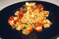 Spaghettata al sugo di pescespada e melanzana