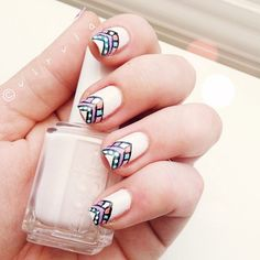 Another simple tribal nail art design!  Instagram photo by @Malou Andino Andino Schott