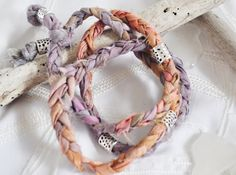 wrap bracelet, upcycled, sari silk sibbon, jewelry, beaded, orange, purple, fabric, braided on Etsy, $15.00