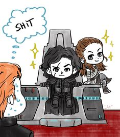 """lauvamp:  """"CHIBI REQUEST #1Anonymous: """"Can you draw Rey and Ben looking fine as fuck ruling together and sitting on Snoke's throne?""""  A new one next month! Stay tuned (◕ᴥ◕)  """""""