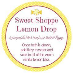 Free Printable Sweet Shoppe Lemon Drop Bath Bomb   Ruffles and Rain Boots