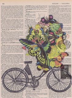 Bicycle Butterflies Collage Fantasy