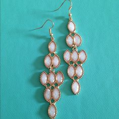 White and Gold fashion drop Earrings White and Gold fashion drop Earrings Jewelry Earrings