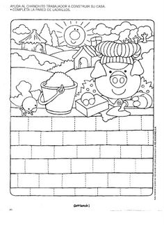 a house of bricks Writing Practice Worksheets, School Worksheets, Worksheets For Kids, Preschool Learning Activities, Motor Activities, Preschool Activities, Coloring For Kids, Coloring Books, Coloring Pages