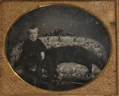 1850s DAGUERREOTYPE PHOTO OF A YOUNG BOY & HIS LARGE NEWFOUNDLAND DOG ON A COUCH | eBay