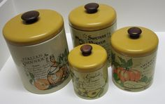 New to lingerawhile on Etsy: Ransburg Kitchen Canister Set With Menu Graphics (34.00 USD)