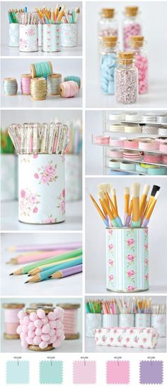 I would want more vibrant colours, rather than pastels, but I like the thinking around covering pencil holders, etc.