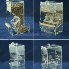 Acrylic Pet Parrot Bird Automatic Tidy Cage Feeder Size Small Single Hopper #Unbranded