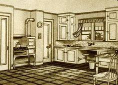 1928 Sears Modern Homes::The Glen Falls Kitchen - Küchen - Outdoor Kitchen İdeas Craftsman Home Decor, Craftsman House Plans, Victorian Kitchen, Vintage Kitchen, 1940s Kitchen, Victorian House, 1920s Home Decor, Architecture Design, Dutch Colonial Homes