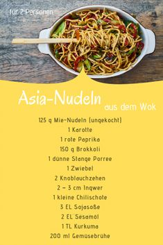 Asian Wok Noodles / Quick Recipe With Mie Noodles-Asia-Nudeln Aus Dem Wok / Schnelles Rezept Mit Mie-Nudeln Asian noodles from the wok. They are quickly prepared and taste like Chinese. Salad Recipes For Dinner, Chicken Salad Recipes, Healthy Salad Recipes, Quick Recipes, Asian Recipes, Healthy Snacks, Vegetarian Recipes, Cooking Recipes, Salmon Recipes