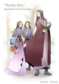 Father's Day; Elrond and his children Elladan, Elrohir, and Arwen. He was such a great dad, even after Celebrian left him and their children in Middle-Earth. :')