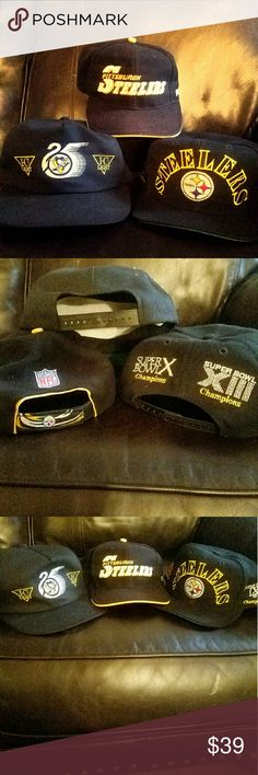3 Vintage Pittsburgh hats bundle 2 Pittsburgh Steelers and 1 Pittsburgh Penguins hats with adjustable backs. Great time to buy!! The Pittsburgh Penguins are the current Stanley Cup Champions and the Steelers are in the playoffs! Pittsburgh  Accessories Hats