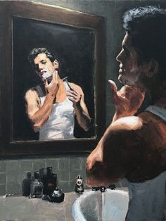 What Voi sees when she gets a peep at Agent Callahan at the hotel bathroom in Tahili after he leaves the door cracked open and thinks she's sleeping. Hp Lovecraft, Pulp Art, Beautiful Paintings, Vintage Posters, Character Art, Modern Art, Vincent Van Gogh, Cool Art, Concept Art