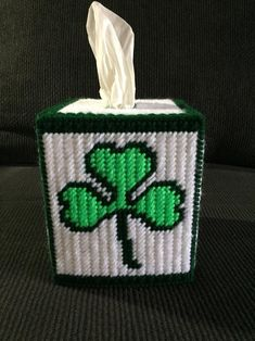 Plastic Canvas Stitches, Plastic Canvas Tissue Boxes, Plastic Canvas Crafts, Plastic Canvas Patterns, St Patricks Day, Saint Patricks, Plastic Canvas Christmas, Tissue Box Covers, Covered Boxes