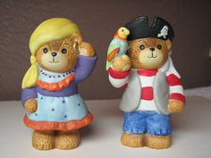 Lucy & Me - 1987 Boy Pirate with Parrot and 1986 Girl Pirate or Gypsy Bear Figurines