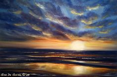 How to Paint Realistic and Abstract Sunsets in Oil; Step by Step instructions on painting sunsets in oil on canvas.