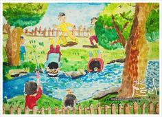 3학년 미술) 강가에 비친 풍경 - 내발산동미술학원 : 화실아트링
