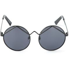 Le Specs round frame sunglasses ($67) ❤ liked on Polyvore featuring accessories, eyewear, sunglasses, glasses, black, round sunglasses, round frame sunglasses, round frame glasses, le specs and black glasses