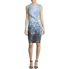 Elie Tahari Gwenyth Sleeveless Sheath Dress ($398) ❤ liked on Polyvore featuring dresses, atlantis, round neck sleeveless dress, full length dress, blue sleeveless dress, open back dress and pattern dress