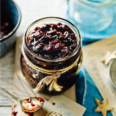 Mulled cranberry and red onion chutney. This Christmas chutney from Lucy Jessop at Sainsbury's magazine is delicious with a cheeseboard or served with cold cuts Edible Christmas Gifts, Vegan Christmas, Xmas Food, Edible Gifts, Christmas Cooking, Christmas Treats, Christmas Hamper, Homemade Food Gifts, Christmas Music