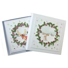 This is the gorgeous new Christmas Friends set designed by Sharon Bennett for Hobby Art. Clear set contains 16 stamps. This Lovely box of cards was made by Sally Dodger