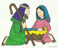 Imagen del Nacimiento del Niño Dios coloreada por mi niña, la obtuve de internet de menudos peques