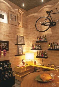 wine cellar + wooden walls