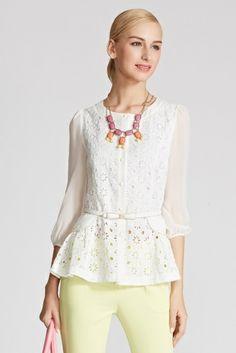 osell wholesale dropship Ladies' new fashion of chiffon one-sleeve slim fit shirts SC410050 $25.39