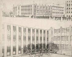 Josef Hoffmann, Entwurf für die Erweiterung der Kunstgewerbeschule, Wien, 1906