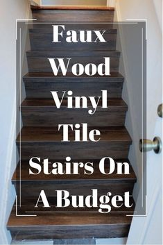 DIY Faux Wood Tile Stairs On a BudgetOur back staircase is a disaster. In fact, I'm so embarrassed by it. Originally it was carpeted by the flipper which I ripped out immediately due to its Tile Stairs, Basement Stairs, Stairs Vinyl, Basement Ideas, Laminate Stairs, Tiled Staircase, Carpet Staircase, Basement Plans, Wooden Stairs