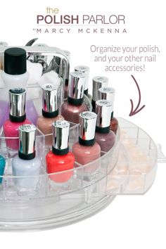 I totally want to #WIN my own Polish Parlor by Marcy McKenna ... Organize your polish and other nail accessories and FINALLY lose your nail-powered mess! Visit http://facebook.com/MarcyMcKenna to enter or visit Marcy's Site (marcymckenna.com) to find out more about the Polish Parlor!