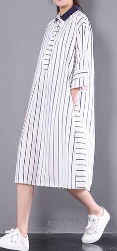 2017 stylish sundress vertical strips plus size shift dress white half sleeve cotton shirt dresses