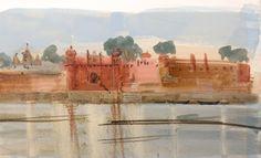 Chet Singh Ghat , from the Ganges. Gouache. Felicity House www.felicityhouse.eu