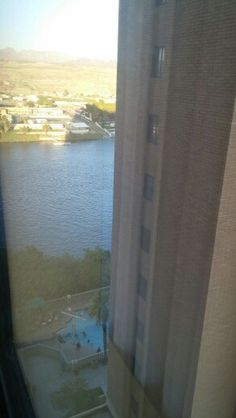 "Picture from The room .. We stayed at the harrahs laughlin in nevada. THEY EVEN HAD A PRIVATE ""BEACH"" to swim in the Colorado River"