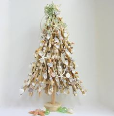 Beach Decor Driftwood Christmas Tree w Shells by beachgrasscottage, $79.00