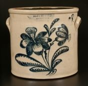 JOHN BURGER / ROCHESTER 3 Gal. Stoneware Crock with Elaborate Slip-Trailed Floral Decoration