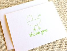 Items similar to Gender Neutral Thank You Cards - Set of 10 Green Baby Shower Thank You Notes with Baby Carriage Design in Lime or Olive Green with Envelopes on Etsy Baby Thank You Cards, Baby Carriage, Keep It Simple, New Baby Gifts, Gender Neutral, Olive Green, Hand Drawn, New Baby Products, How To Draw Hands